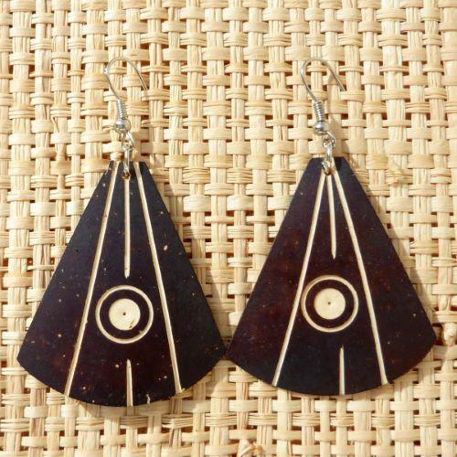 Boucles d'Oreilles Originales en Noix de Coco style ethnique