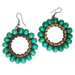 Boucles d'oreilles en bois et noix de coco perles vertes