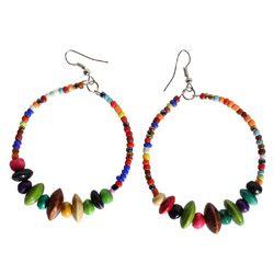 Boucles d'Oreilles Anneaux Style Créoles Perles Rocailles et Bois multicolores