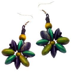 Boucles d'Oreilles Fleurs Perles en Bois Anis Vert Violet