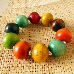 Bracelet Multicolore Grosses Perles Rondes en Bois teinté