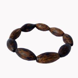 Bracelet en bois, perles ovales alongées en bois de palmier coco