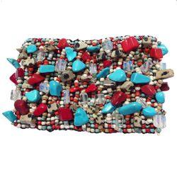 Bracelet manchette rocaille et pierres naturelles Turquenite Jaspes rouges et dalmatien Pierre de lune
