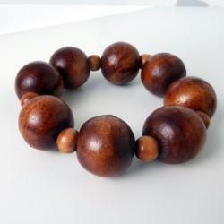 Bracelet en bois Perles boules Couleur marron