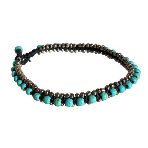 Bracelet de Cheville original Couleur Turquoise et Bronze Faite Main