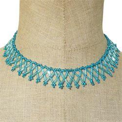 Collier Collerette fine Bleue perles rocailles et tubes Artisanal