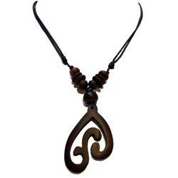 Collier Ethnique Pendentif artisanal en bois Tour de cou ajustable