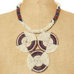 Collier original artisanat en perles de rocaille style Ethnique