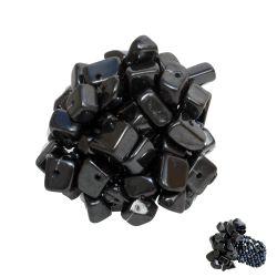 Grosse Bague originale en perles avec Chips d'Hématite pierre naturelle