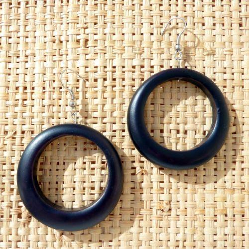 Boucles d'oreilles en Bois teinté Anneaux noirs