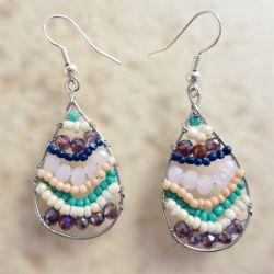 Boucles d'oreilles Gouttes rangs de perles sur fil argenté