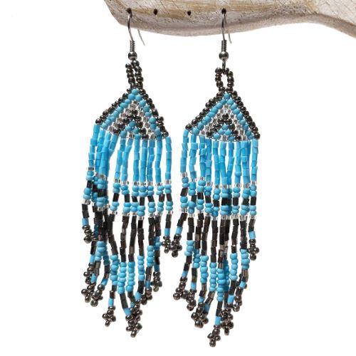 Boucles d'oreilles en perles de rocaille franges bleu et métal