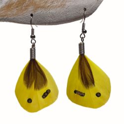 Boucles d'oreilles originales petites plumes jaunes
