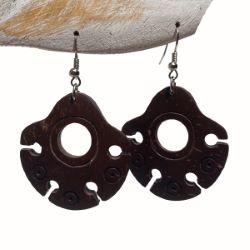 Boucles d'Oreilles en Noix de Coco style ethnique forme découpée