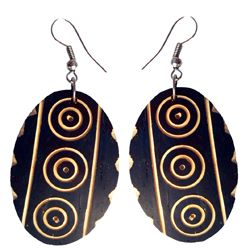 Boucles d'Oreilles Originales Ovales en Noix de Coco gravée
