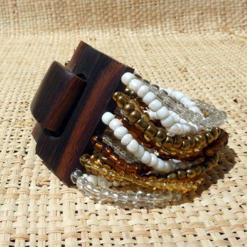 Bracelet en bois Fermoir en Bois et Perles de Rocailles Mix Blanc Ambré et Bronze