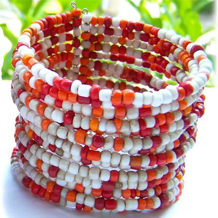 Bracelet Manchette 15 rangs de grosses perles de rocaille Orange Beige Rouge
