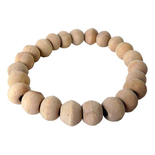 Bracelet artisanal Homme Perles rondes en bois clair naturel