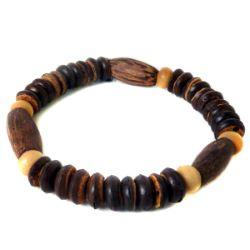 Bracelet élastique surf perles en noix de coco et bois de palmier