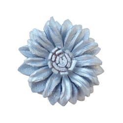 Grosse Bague Fleur en cuir couleur gris argent taille ajustable Artisanat de Bali