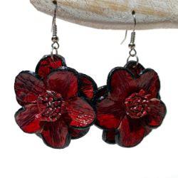 Boucles d'oreille Originales en cuir Fleurs camélias rouges