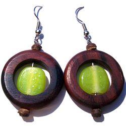 Boucles d'oreilles Anneaux en Bois avec Perles en Pâte de Verre Vert Anis