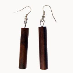 Boucles d'oreilles en bois naturel bâtons cylindres
