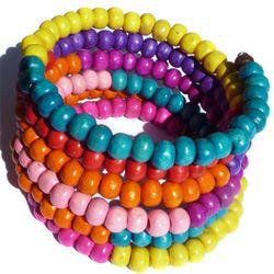 Bracelet en Bois Perles Multicolores