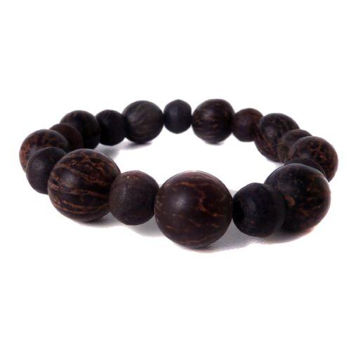 Bracelet graines de palmier et perles en bois