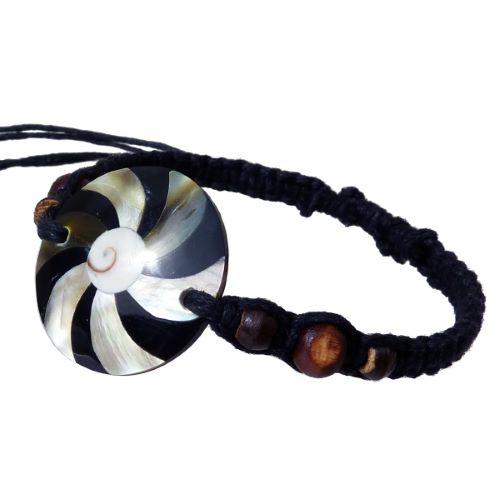 Bracelet cordon ajustable médaillon mosaïque de nacre et oeil de Lucie