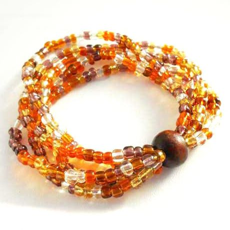 Bracelet Original en perles de verre Mélange Orangé transparent Ambré