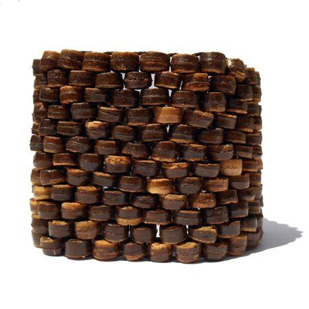 Bracelet manchette tissage de perles en noix de coco sur élastique