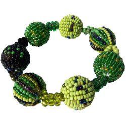 Bracelet Original en Perles boules et perles de rocaille Tons Verts