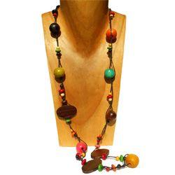 Collier sautoir multicolore Original perles en Bois Couleurs et Bois naturel