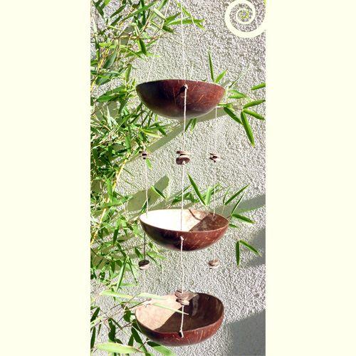 Suspension coupelles en noix de coco sur corde Déco Nature