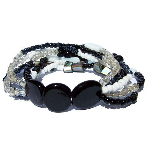Bracelet Noir et Blanc Perles Rocaille Pâte de verre et Nacre