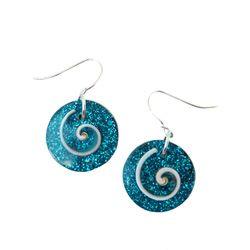 Boucles d'oreilles originales Coquillage et paillettes bleu turquoise