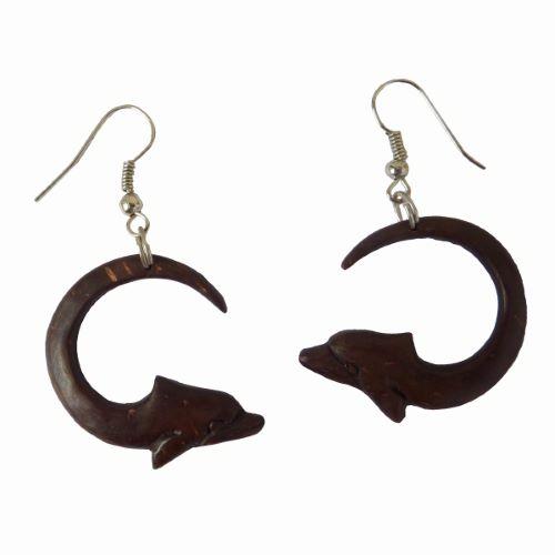 Boucles d'oreilles en noix de Coco Sculptée Dauphins