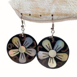Boucles d'oreilles rondes fleurs mosaïque de nacre et noix de coco