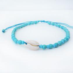 Bracelet de cheville bleu turquoise en perles avec coquillage cauris