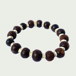 Bracelet en bois de palmier surf perles rondes et petites vertèbres de requin