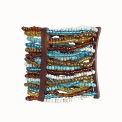 Bracelet manchette perles de rocailles et lamelles en bois naturel