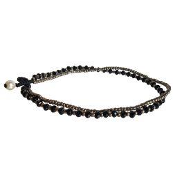 Chaîne de cheville Deux Fils en perles Noir & Bronze Fait Main