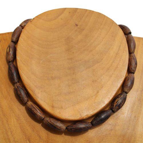 Collier ras de cou Perles en Bois naturel de Palmier Cocotier