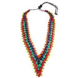 Collier Col en V Perles en Bois mix couleurs Trés Original - Anis - Rouge - Vert - Violet- Orange