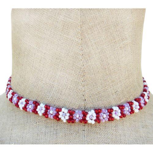 Collier fleurs en perles de rocaille Rouge mauve Blanc Artisanal