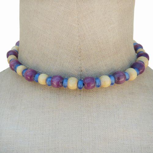 Collier perles en bois rondes et pâte de verre Violet Beige Bleu