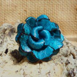 Bague Fleur en cuir couleur Bleue taille ajustable Turquoise