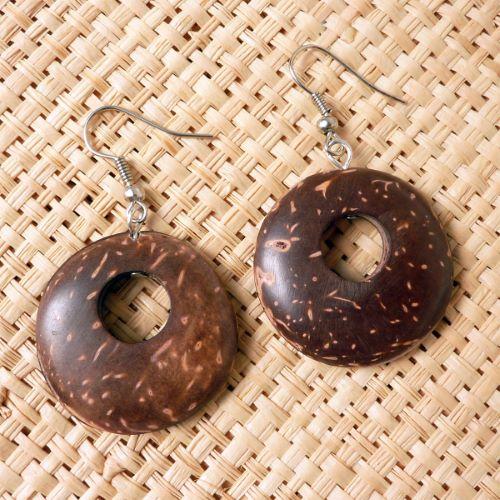 Boucles d'oreilles Originales en Noix de Coco Rondes