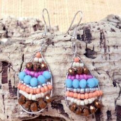Boucles d'oreilles originales Gouttes avec rangs de perles mélangées